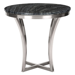 Aurora Black Marble + Polished Steel Round Modern End Table