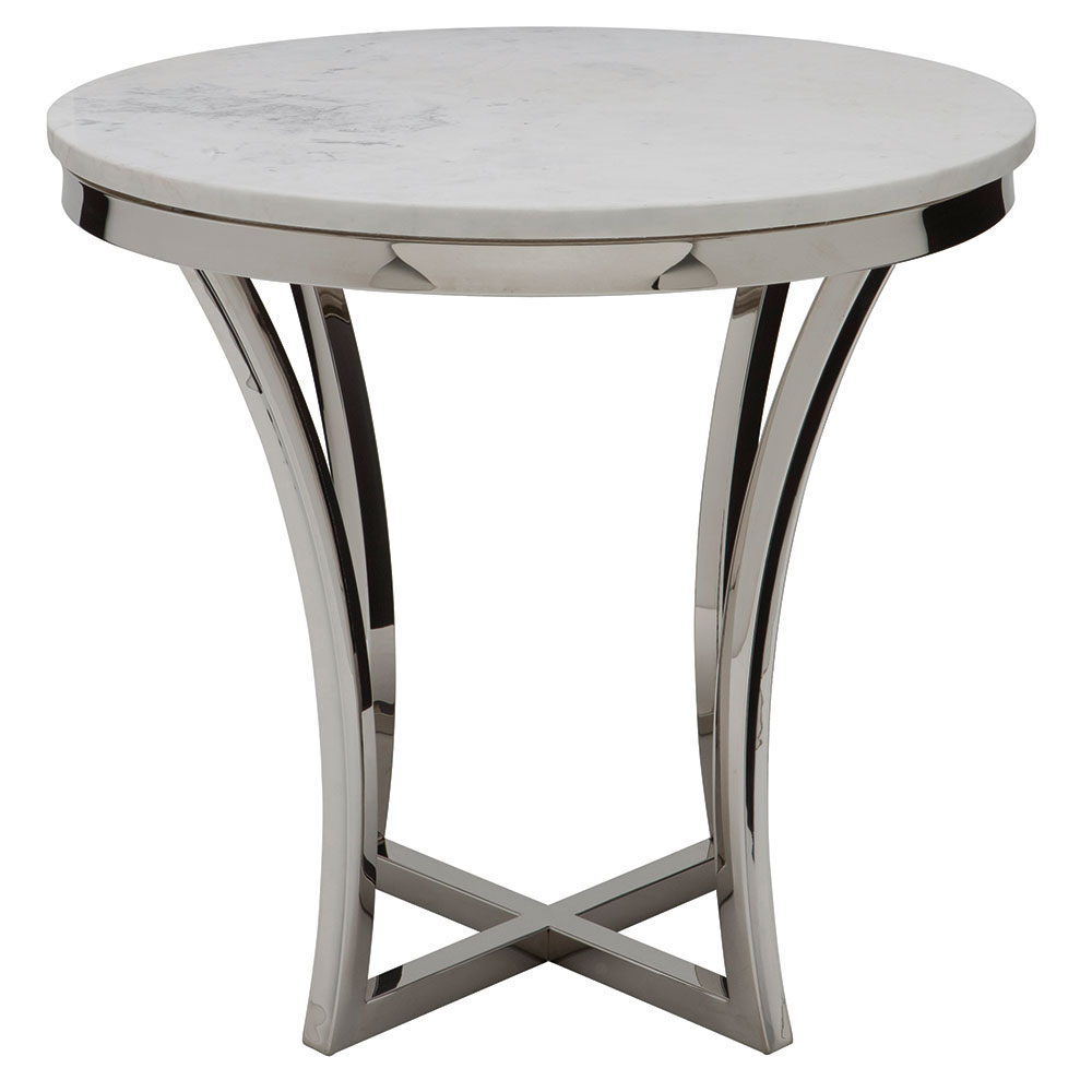 Aquila White Marble + Polished Steel Round Modern End Table