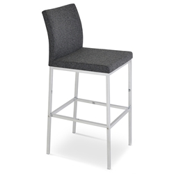 Aria Modern Bar Stool Dark Gray Wool + Chrome Base