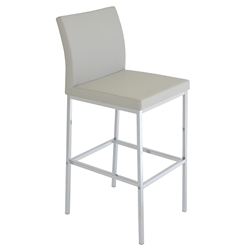 Aria Modern Bar Stool Light Gray Leatherette + Chrome Base