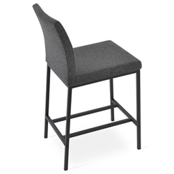 Aria Modern Counter Stool Dark Gray Wool + Black Steel Base