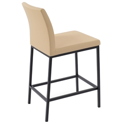 Aria Modern Counter Stool Tan Leatherette + Black Steel Base