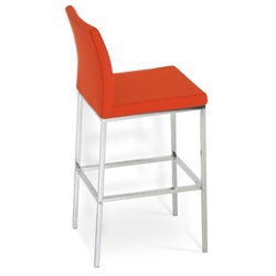 Aria Modern Counter Stool Orange Wool + Chrome Base