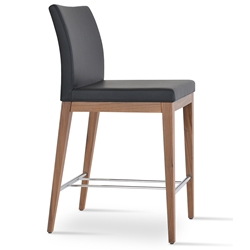 Aria Modern Counter Stool Black Leatherette + Walnut Wood Base
