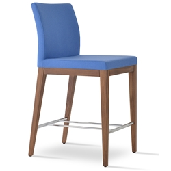 Aria Modern Counter Stool Sky Blue Wool + Walnut Wood Base