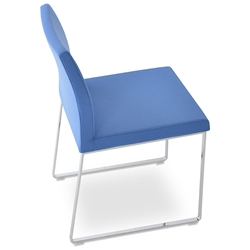 Aria Modern Dining Chair Sky Blue Wool + Chrome Sled Base