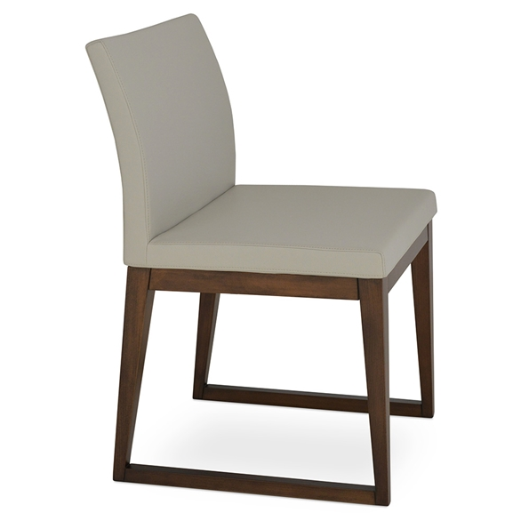 Aria Modern Dining Chair Light Gray Leatherette + Sled Wood Base