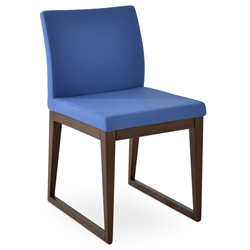 Aria Modern Dining Chair Sky Blue Wool + Sled Wood Base
