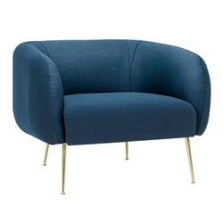 Asmodius Lagoon Blue Fabric + Gold Metal Modern Lounge Chair
