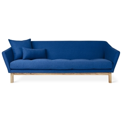 Gus* Modern Astrid Modern Sofa with Solid Ash Base and Stockholm Cobalt Fabric Upholstery