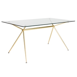 Atos Modern 60 Inch Dining Table in Matte Gold