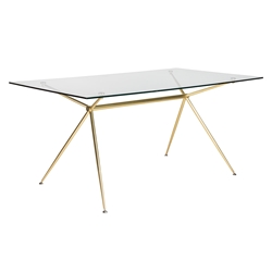 Atos Matte Brushed Gold 66 Inch Modern Glass Dining Table