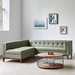 Gus* Modern Adelaide Bi Sectional Sofa in Parliament Moss Fabric Upholstery With Walnut Wood Base
