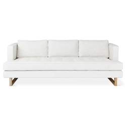 Gus* Modern Aubrey Contemporary Sofa in Huron Ivory Fabric Upholstery and Solid Natural Ash Wood Base