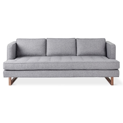 Aubrey Contemporary Sofa in Parliament Stone Upholstery with Solid Walnut Base by Gus* Modern