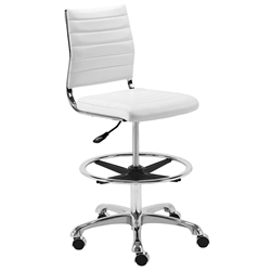 Euro Style Axel White Modern Adjustable Drafting Stool