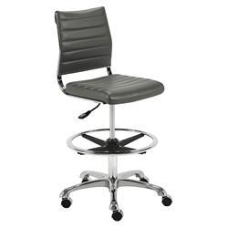 Euro Style Axel Gray Padded Leatherette + Chrome Modern Adjustable Drafting Stool
