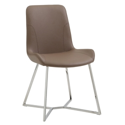 Azimuth Taupe Faux Leather + Polished Steel Modern Dining Chair