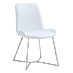 Azimuth White Faux Leather + Polished Steel Modern Dining Chair