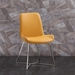 Azimuth Yellow Faux Leather + Polished Steel Modern Dining Chair - Lifestyle