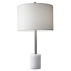 Ballard Contemporary Table Lamp w/ White Marble Base