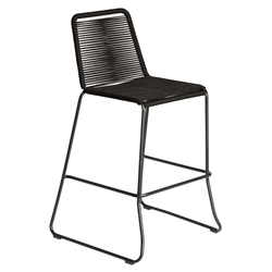 Modloft Barclay Black Rope + Steel Modern Indoor + Outdoor Bar Stool