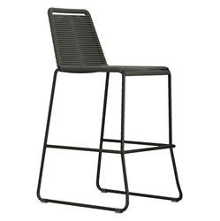 Modloft Barclay Dark Gray Rope + Steel Modern Indoor + Outdoor Bar Stool