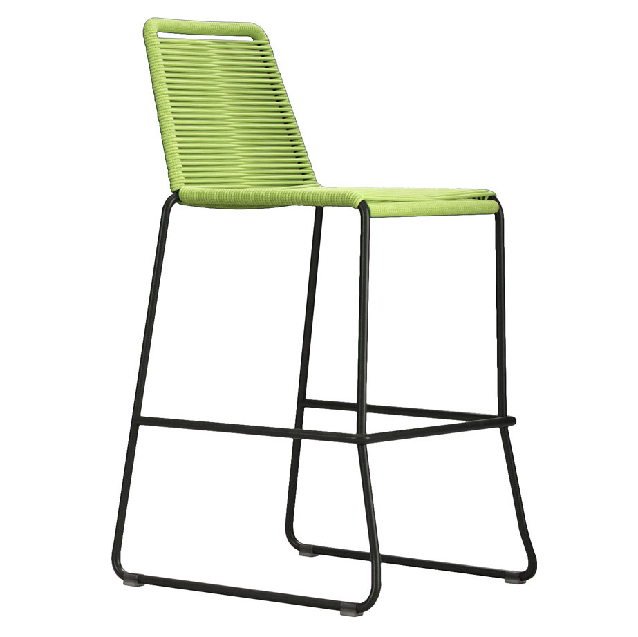 Modloft Barclay Green Rope + Steel Modern Indoor + Outdoor Bar Stool