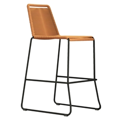 Modloft Barclay Orange Rope + Steel Modern Indoor + Outdoor Bar Stool
