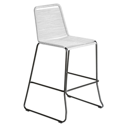 Modloft Barclay White Rope + Steel Modern Indoor + Outdoor Bar Stool