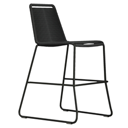 Modloft Barclay Black Rope + Steel Modern Indoor + Outdoor Counter Stool