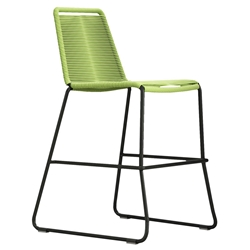 Modloft Barclay Green Rope + Steel Modern Indoor + Outdoor Counter Stool