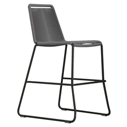 Modloft Barclay Light Gray Rope + Steel Modern Indoor + Outdoor Counter Stool