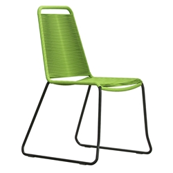 Modloft Barclay Green Rope + Steel Modern Indoor + Outdoor Dining Chair