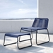 Modloft Barclay Blue Rope + Steel Modern Indoor + Outdoor Lounge Chair + Ottoman - Lifestyle