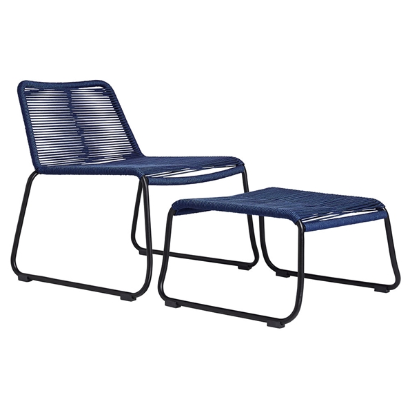 Modloft Barclay Blue Rope + Steel Modern Indoor + Outdoor Lounge Chair + Ottoman