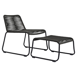 Modloft Barclay Dark Gray Rope + Steel Modern Indoor + Outdoor Lounge Chair + Ottoman