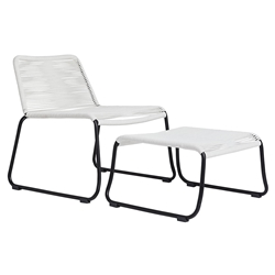 Modloft Barclay White Rope + Black Steel Modern Outdoor Lounge Chair + Ottoman