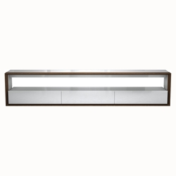 Modloft Black Beckenham White + Walnut 94 In. Modern Media Console - Front