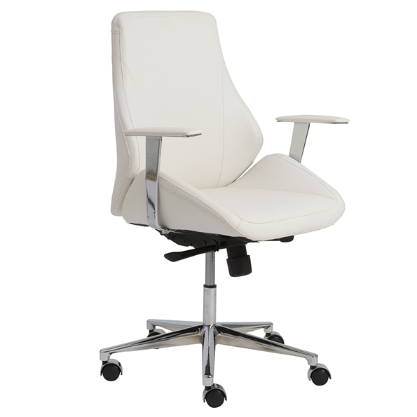 Bergen Modern White Low Back Office Chair