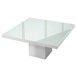 Modloft Beech White Lacquer + White Glass Square Modern Dining Table