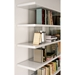 Modloft Beekman Glossy White + Clear Glass Modern Bookcase - Room Setting, Detail