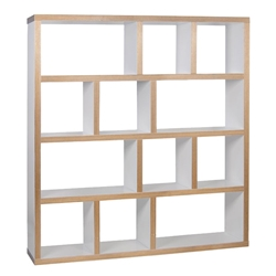Berlin 4 Level 59 Inch White + Ply Contemporary Bookcase by TemaHome