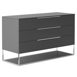 Modloft Bowery Modern Dresser in Dark Gull Gray and Chrome