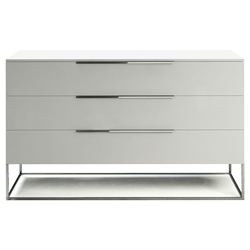 Modloft Bowery Matte White Modern Dresser with Polished Steel Frame
