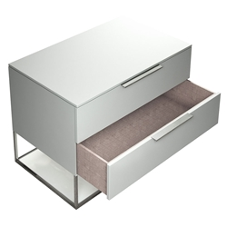 Modloft Bowery Matte White Modern Nightstand with Polished Steel Frame