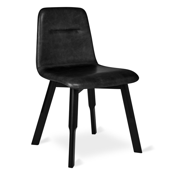 Gus* Modern Bracket Modern Dining Chair in Saddle Black Genuine Top-Grain Leather with Painted Black Beech Wood Legs