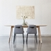 Gus* Modern White Wash Ash Modern Oval Dining Table - Room Shot With Lecture Chairs