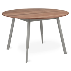 Gus* Modern Bracket Round Modern Dining Table in Walnut + Gray