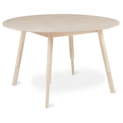 Gus* Modern Bracket Round Modern Dining Table in White Wash Ash Wood